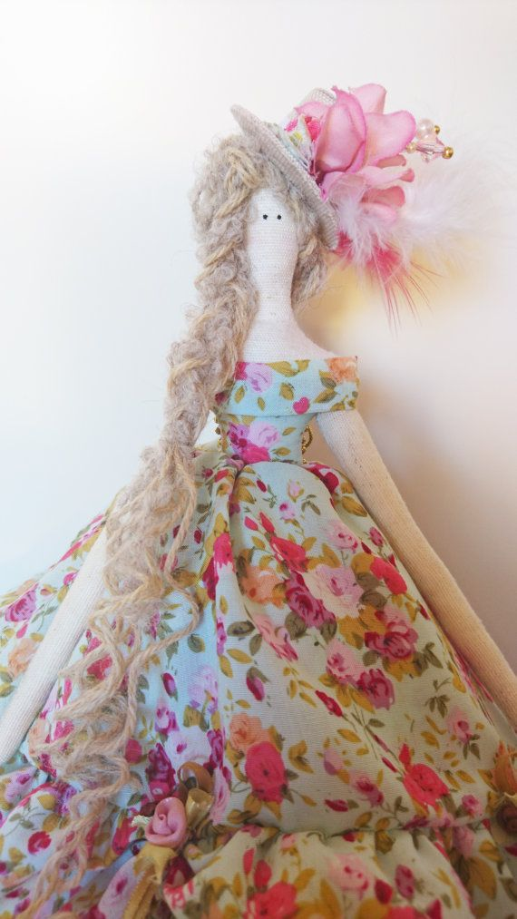 Tilda Doll Ruffled dress with ribbons flowers by IdaHedmanCrafts