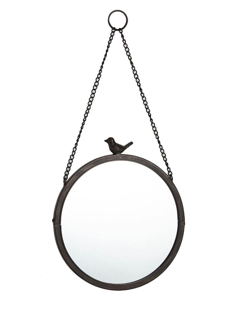 Bronze Vintage Curiosity Round Hanging Bird Top Mirror
