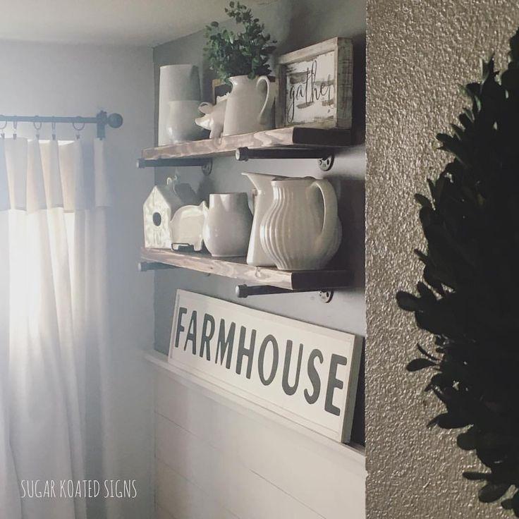 "Farmhouse Style, Farmhouse Decor, Farm, Farmhouse, Home Inspiration, Home Decor, Kitchen Decor, pipe Shelving, Industrial Shelving, White Pitchers, Fixer Upper Inspired, Wood Sign 41 Likes, 5 Comments - SugarKoatedSigns (@sugarkoatedsigns) on Instagram: ""Farmhouse ❤️ . . . . . . . #sugarkoatedsigns #woodsign #farmhouse #farmhousestyle #farmhousedecor…"""