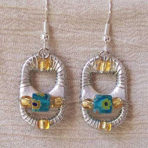 Old pop tab earrings