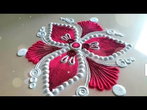 Simple Christmas and Happy New Year 2018 Freehand rangoli | Easy Rangoli Designs - YouTube