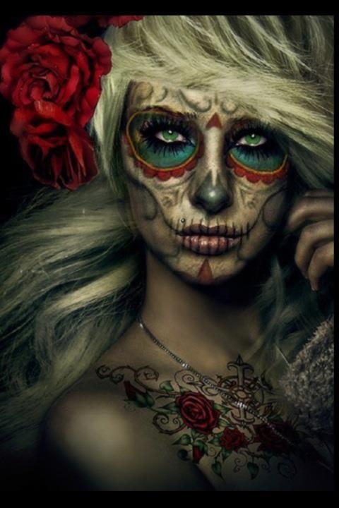 Would love to do a photo shoot like this: Candies Skull, Costumes Makeup, Halloween Costumes, Halloween Makeup, Makeup Ideas, Sugar Skull Makeup, Dead, Costumes Ideas, Halloween Ideas