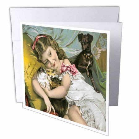 3dRose Scotts Emulsion Cute Little Girl with Kittens and a Puppy, Greeting Cards, 6 x 6 inches, set of 12