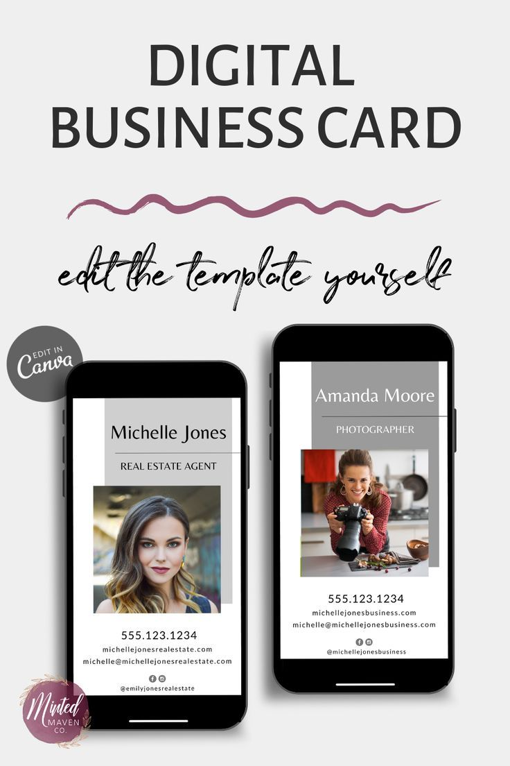 Digital Business Card Template For Realtors Custom Business Card Easy To Edit In Canva Di Digital Business Card Real Estate Business Cards Digital Business