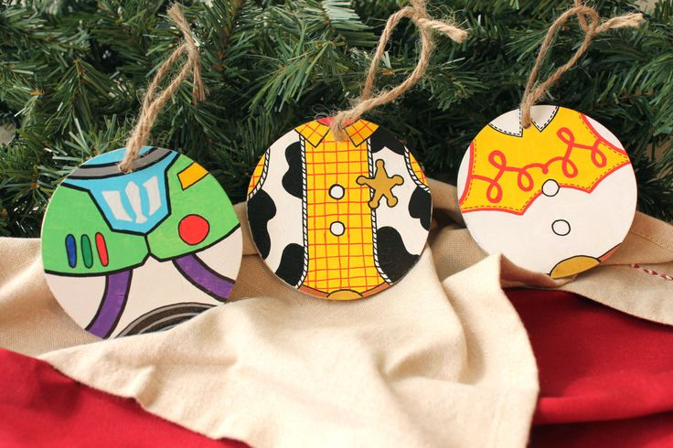 Handmade Toy Story Themed Christmas Ornaments, Disney, Woody, Buzz Lightyear and Jess, Handpainted by PaintandPly on Etsy https://www.etsy.com/listing/169799275/handmade-toy-story-themed-christmas