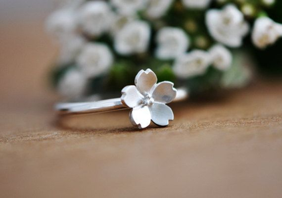Handemade Sterling Silver Sakura Flower (Cherry Blossom) Ring, Handmade 925 Silver Ring, Personalized Sterling Silver Ring #etsy  #gifts