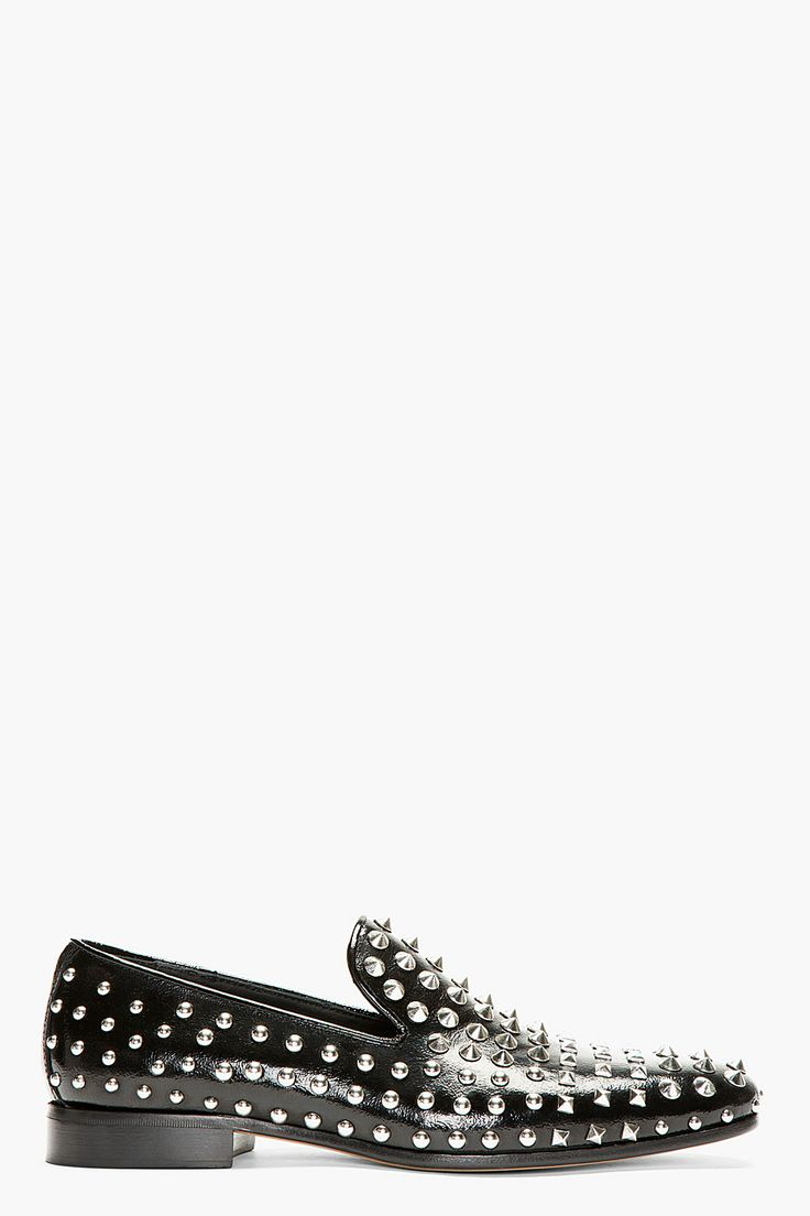 Dsquared2 Black Grain Patent Leather Studded Loafers