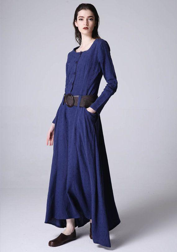 Bleu robe robe longue robe en lin tenue décontractée par xiaolizi