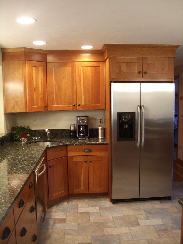 Butterfly Undermount Kitchen Sinks : , cherry kitchen, Butterfly Green, granite countertops, corner sink ...
