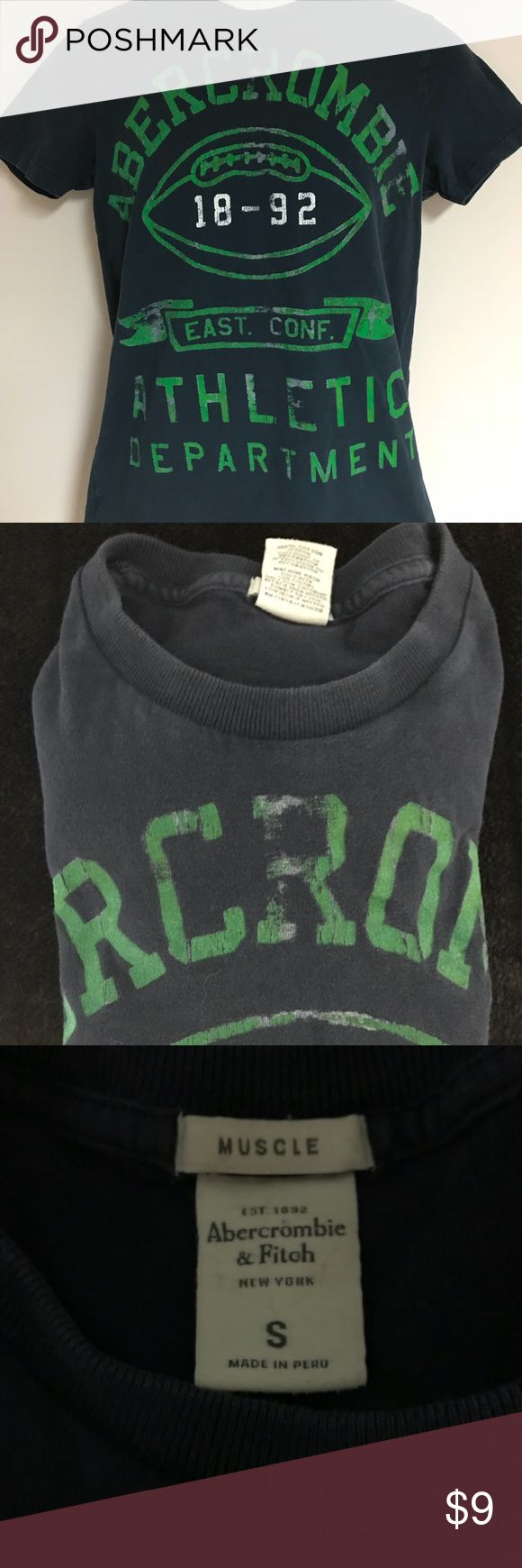 ABERCROMBIE AND FITCH Men's t-shirt ABERCROMBIE AND FITCH Men's t-shirt size small.    T-shirt's on sale!  2 for $9 or 3 for $12. Create a bundle and I'll send a private offer with the sale price. Abercrombie & Fitch Shirts Tees - Short Sleeve