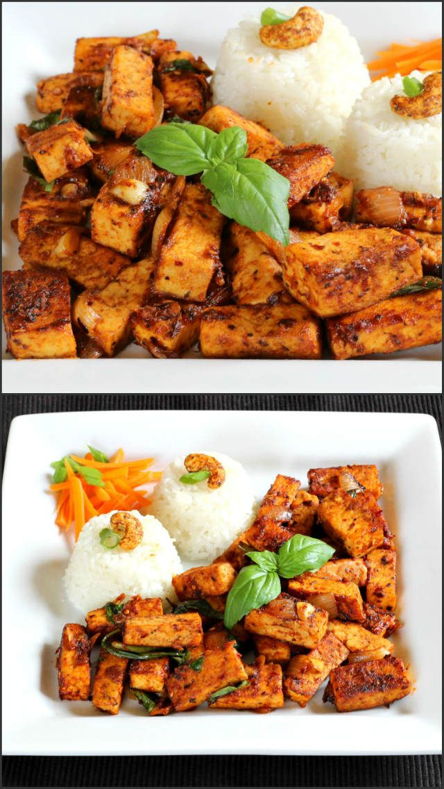 Spicy Basil Tofu is delicious, flavorful and spicy dish prepared using tofu, fresh basil leaves and sauces.