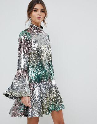 456e91ce0bad ASOS DESIGN | ASOS DESIGN premium rainbow mini sequin dress | Fancy ...
