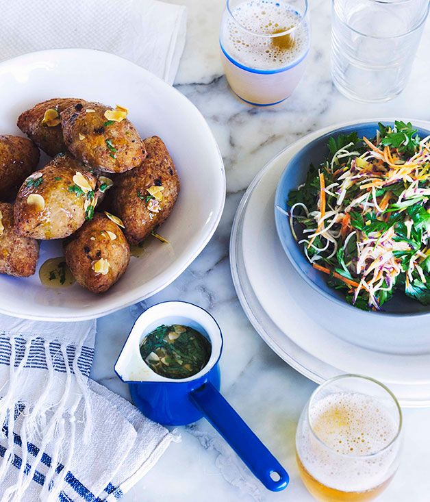 George Calombaris: Pork and prawn koupes with honey dressing and parsley coleslaw