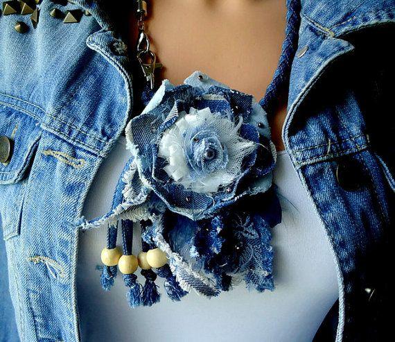 Textile Necklace/Textile Jeans Necklace/ Linen by eMDdesign