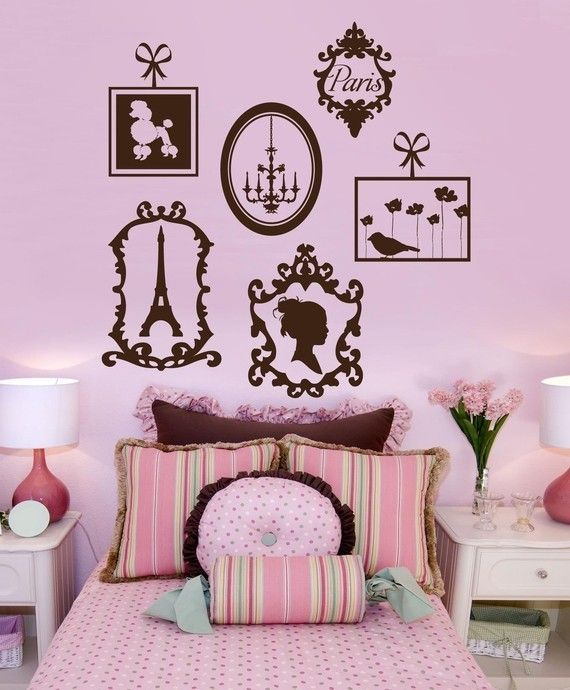 Whimsical Wall Stickers - Paris Frames (Decal), $19.95 (http://www.whimsicalwallstickers.com.au/paris-frames/)  Add a touch of Paris to your home with this set of six (6) Parisian frames. Ooh la la.    Frames feature the Eiffel Tower, Paris, a poodle dog, a ladies silhouette, a candelabra and a sweet little birdie with flowers   Size: when installed: 1.18 m x 1.13 m (estimated)   Material: Vinyl Fabric