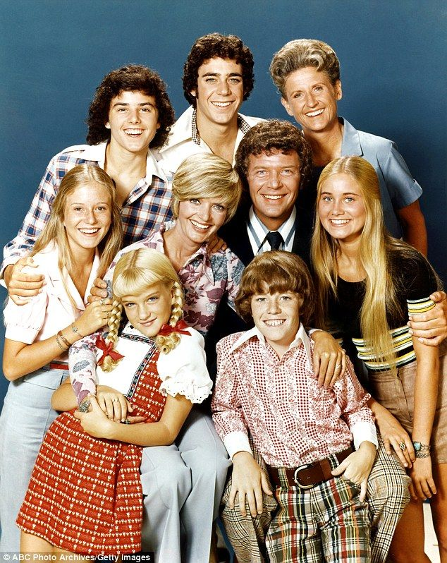 Henderson spent decades in the iconic role as Carol Brady. Pictured with her TV family:  top row: Christopher Knight (Peter), Barry Williams (Greg), Ann B. Davis (Alice); middle row: Eve Plumb (Jan), Florence Henderson (Carol), Robert Reed (Mike), Maureen McCormick (Marcia); bottom row: Susan Olsen (Cindy), Mike Lookinland (Bobby)