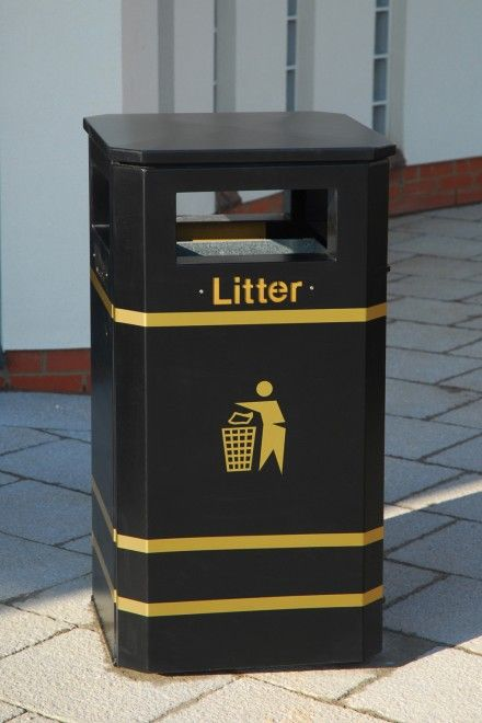 Derby Standard Litter Bin -Street Furniture The Derby litter bin has been in existence for over 25 years, and in those years it has evolved into many shapes and forms from traditional square litter bins to contemporary round and elliptical shapes through to recycling units. One of the key factors in the Derby Range's success is its unique door bar hinge system that has seen the bin used throughout the UK and not a single door has been forcibly removed in over 25 years.