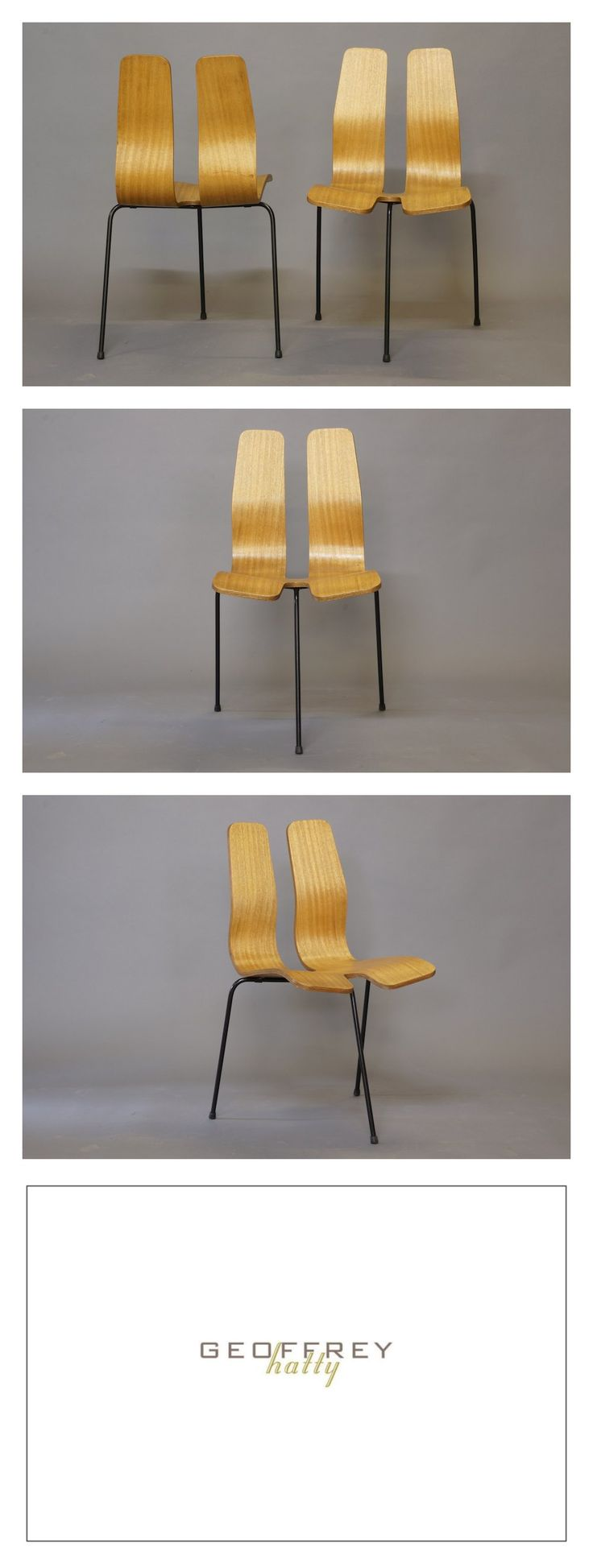 Good Clement Meadmore Pair Of Plywood 3 Legged Chairs, Rare, C.1955.