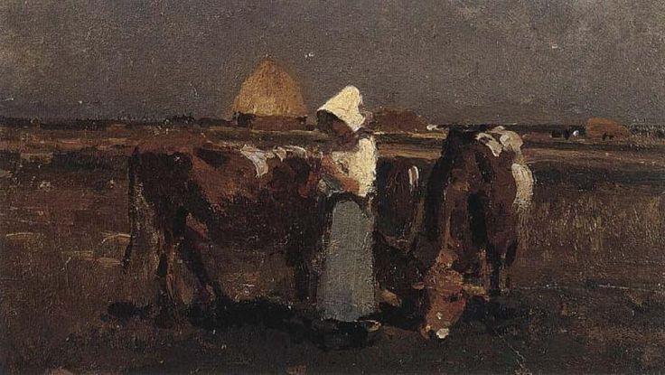 Peasant Watching her Cows at Barbizon, Nicolae Grigorescu