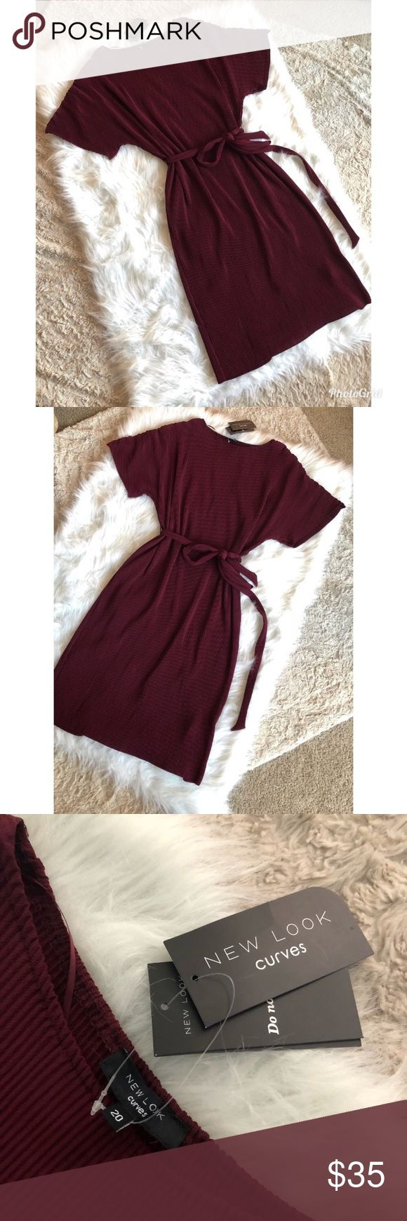 ASOS New Look Curves Dress NWT Gorgeous Burgundy/Wine colored ASOS New Looks Curves Dress, waist belt tie include, smoke free house ASOS Curve Dresses Midi