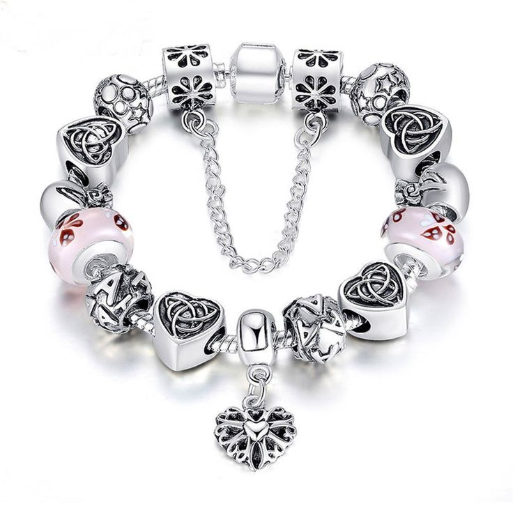 TOP Sell Charm Bracelet Heart Letter Beads Glass Beads Jewelry PA1825 #Handmade #ClassicGlassBeads