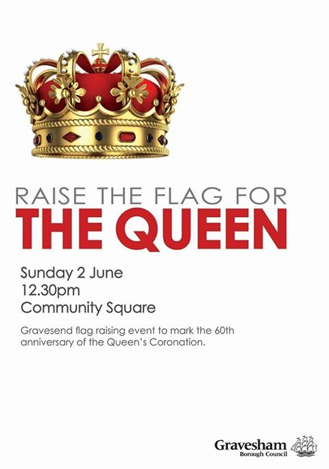 Gravesham Borough Council is organising a special flag-raising ceremony and service to mark the 60th anniversary of the Queen's coronation on Sunday 2 June at 12.30pm on Gravesend's Community Square. The Mayor of Gravesham Cllr Derek Sales will lead the celebration and the service will be conducted by his chaplain Rev Canon Chris Stone, Rector of Gravesend. The six flags on the square will be raised to mark the occasion.