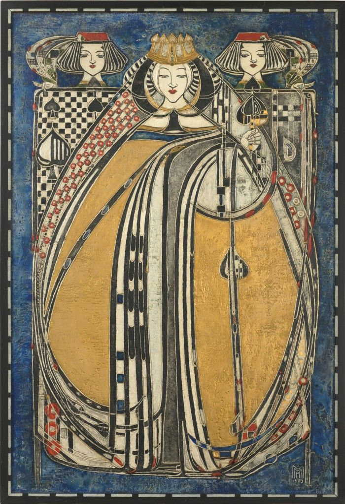 One of Four Queens (Queen of Spades)  Margaret Macdonald Mackintosh Scottish , 1865 - 1933  wood, paint, gesso.