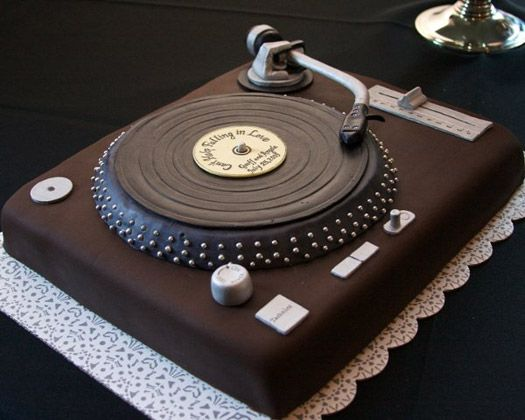 Turn table cake for the grooms cake -- because Anders loves vinyl records!
