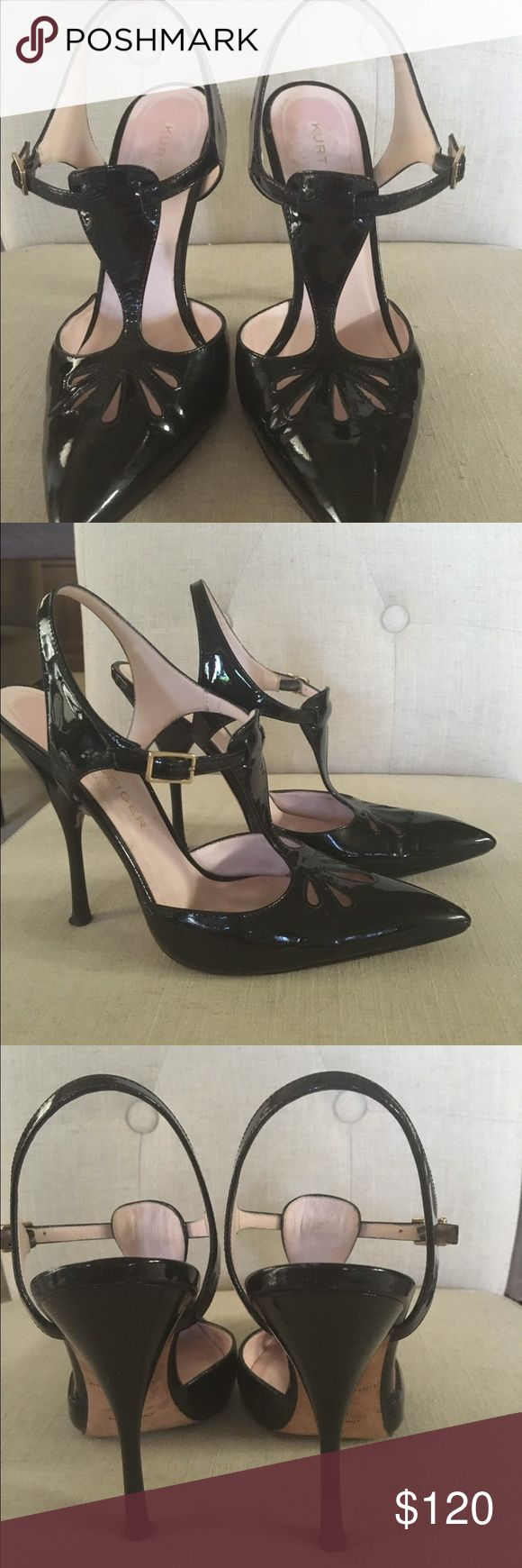 Very classy black patent sling back shoes Super classy sling back pumps by Kurt Geiger London patent leather worn once no sign of wear, shoes with a story , my shoes stolen in London airport , so had to buy shoes , BEST store @ airport Kurt Geiger 💕 kurt geiger Shoes Heels