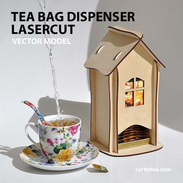 tea bag  dispenser, wooden tea box, tea bag storage, tea house box, tea bag holder - vector model, product plan for laser cut of plywood photo