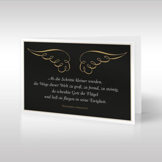Die anmutige Design-Trauerkarte im Hochformat zeig…