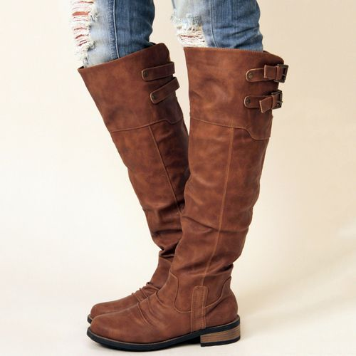 Cognac Knee High Boots at Nectar Clothing