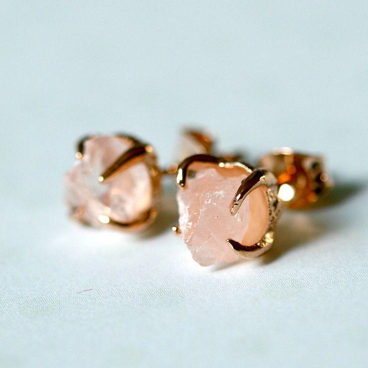 Rose Quartz Earrings,Rose Gold,Raw Stone Earrings,Raw Crystal Earrings,Stone,Stud earrings,Quartz Earrings,Rough Stone