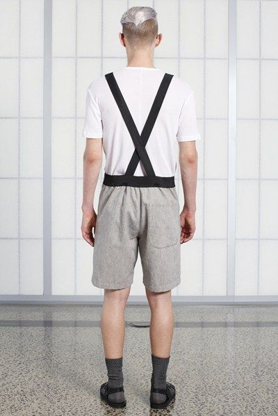 s/s 13/14 mens key looks - M06. dungarees in canvas, phys-ed tee in white waffle.