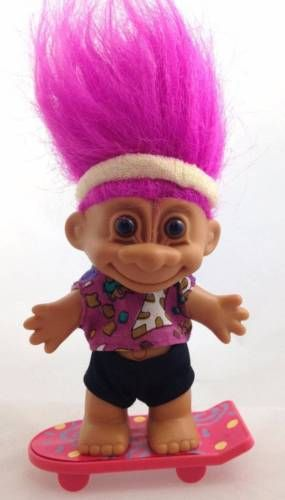 Skateboard Russ Troll Doll Purple Hair Funky Cool Skater Girl Headband