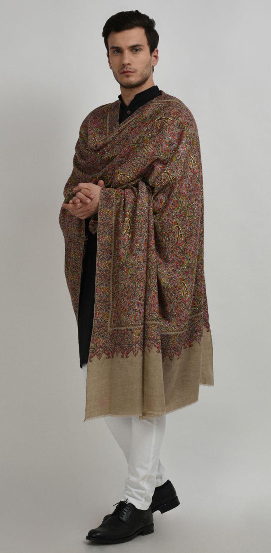 e5d64093dd Masterpiece Natural Pure Pashmina Jamawar Hand Embroidered Men's Shawl