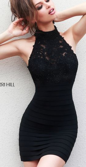 Keyhole Back Sherri Hill 32048 Short Bandage Dress For Homecoming