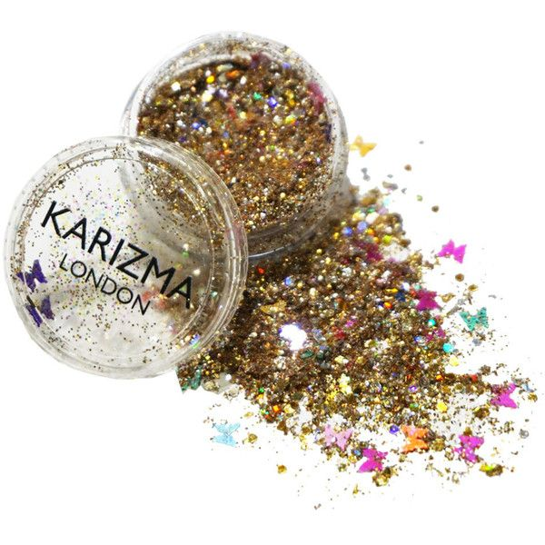 Gold Butterfly Chunky Glitter Face Body Nails Hair Festival Gems... ($5.80) ❤ liked on Polyvore featuring beauty products, bath & beauty, grey and makeup & cosmetics
