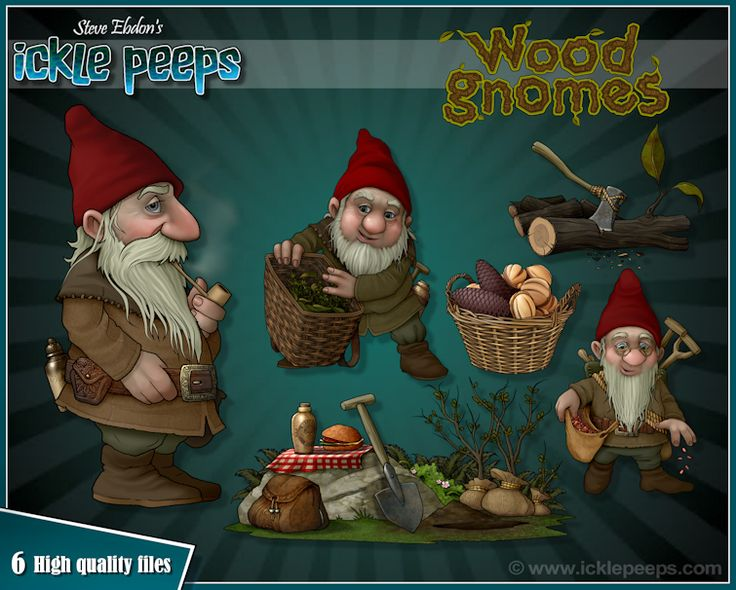 A set of 3 Wood Gnomes and 3 additional props in PNG format