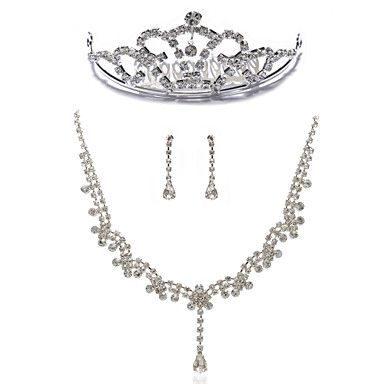 Gorgeous Rhinestones Wedding Jewelry Set,Including Necklace,Earrings And Tiara – CAD $ 33.29