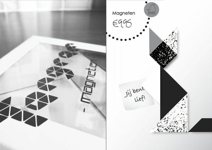 Tangram is een spel dat al heel lang bestaat. Je kunt met een aantal vaste vormen heel veel figuren maken. Van kat tot schildpad en van huis tot boot. Bijna alle figuren zijn mogelijk. De kunst is alleen: hoe maak je deze figuren? Met deze set magneten kun je lekker puzzelen. Er zit een boekje bij met verschillende figuren om na te maken, dus je kunt gelijk aan de slag! De set is verkrijgbaar in drie verschillende kleurstellingen.