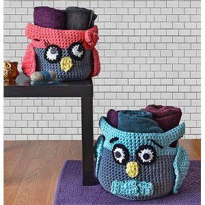 Hooty Owl Crochet Baskets | AllFreeCrochet.com