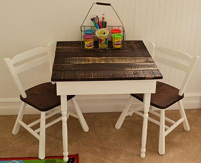 Kids table made out of a pallet for $8!  SOOOO putting this on my to-do list.  Will probably have to make 2--one for inside & one with polyurethane for out!