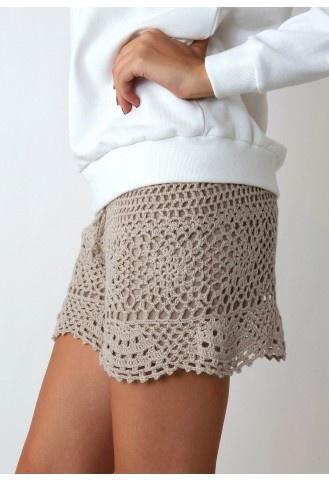 Beige Handknit Crochet Shorts