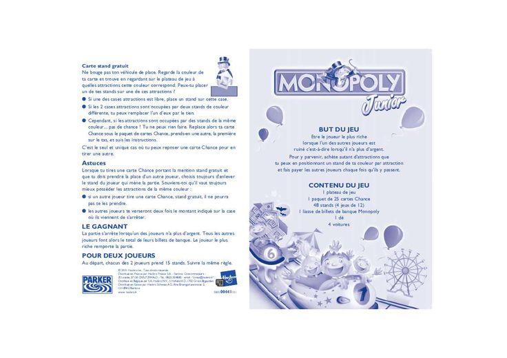 Mode d'emploi HASBRO MONOPOLY JUNIOR
