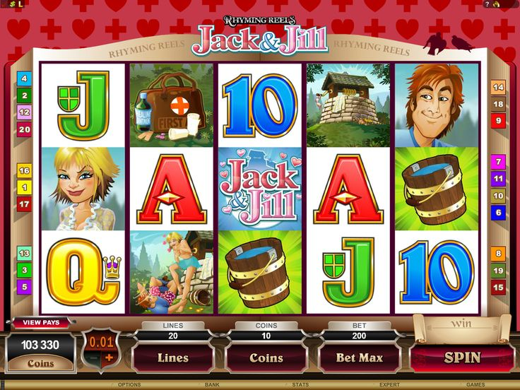 Rhyming Reels Jack & JIll is a 5 Reel 20 Payline Online Video Slot. Other games in the Rhyming Reels category include: Georgie Porgie, Hearts and Tarts and Old King Cole. Find these and many more at Crazy Vegas Casino: https://www.crazyvegas.com/