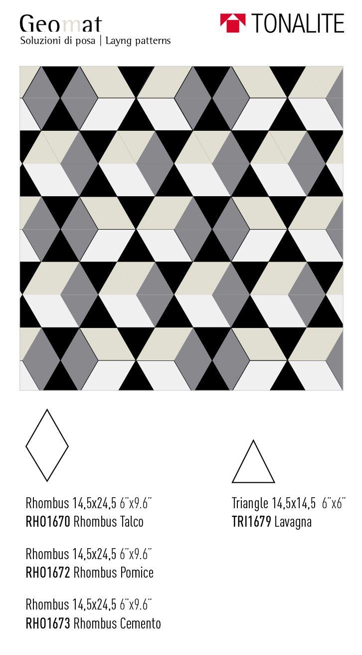 Tonalite collezione geomat forme Estella Rhombus Triangle Hexagon tiles piastrelle shape pattern design arredamento azulejos carreaux rivestimento walltiles pavimento floortiles 7colori madeinitalywithpassion ceramicsofitaly italianstyle layout schema di posa