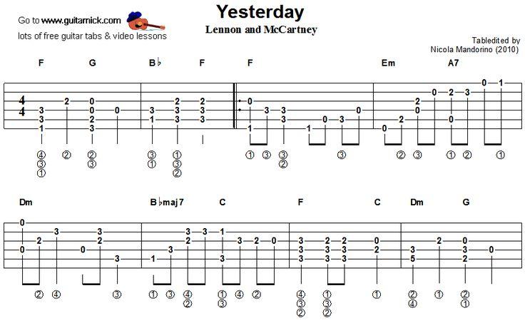 guitarnick : Yesterday, Beatles - fingerstyle guitar tablature 1 : Sheet Music : Pinterest ...