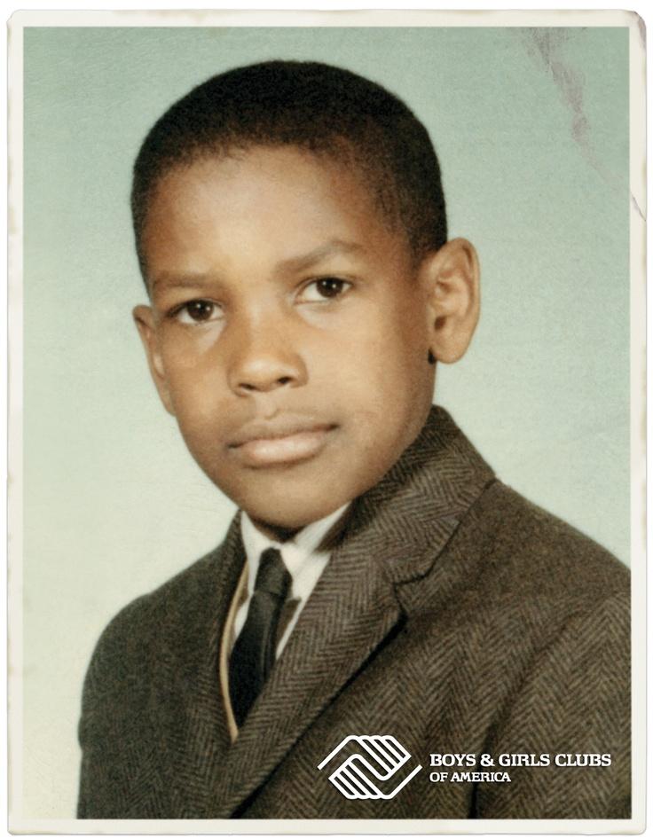 Boys & Girls Clubs of America spokesman, Denzel Washington's school photo, also used on his BGCA billboard.