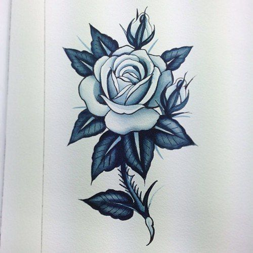 Rose With Thorns Tattoo Drawing thorn stem rose tattoo design best ...